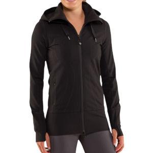 Lululemon Stride Jacket Women's Size 4 Black Hooded Long Sleeve Full Zip Stretch